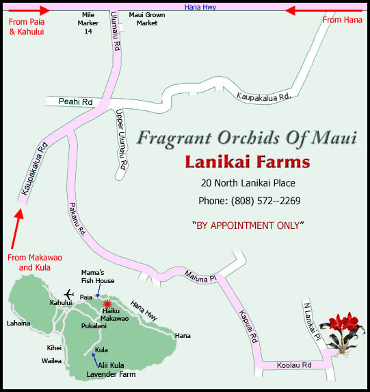 Map to Fragrant Orchids of Maui